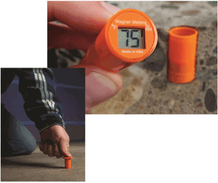 This sensor shows a concrete slab relative humidity of 75 per­cent, in general, but not always the upper RH limit for coating concrete floors. Photo courtesy of Wagner Meters. A contractor places a relative humidity sensor into a hole drilled to 40 percent slab on-grade depth, where studies have shown the most accurate readings of a slab's RH are found. Photo courtesy of Wagner Meters.