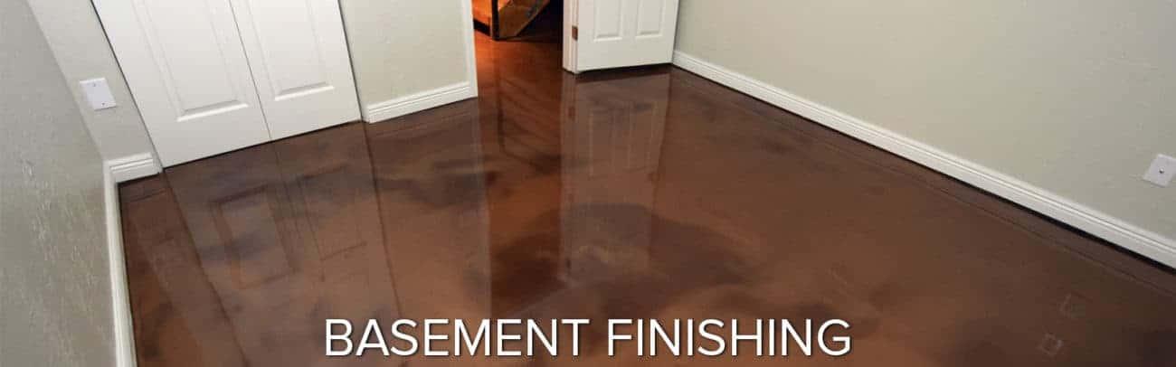Basement finished with metallic indoor epoxy coating system called Liquid Art
