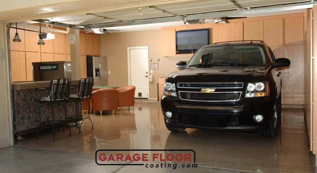 Epoxy flooring increase resale value of home black chevy on garage floor coating