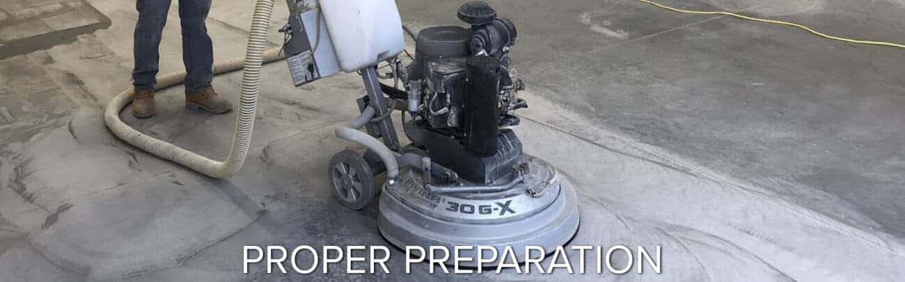 proper concrete preparation using propane grinder epoxy flooring garage floor coatings