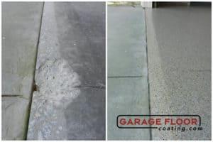 before and after epoxy installs chipped garage floor coating GarageFloorCoating.com