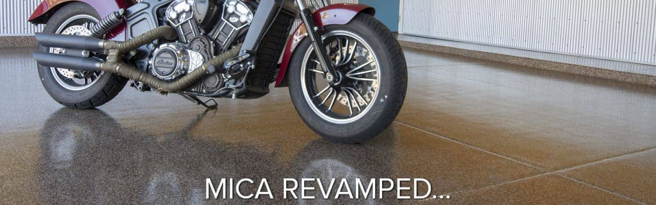 chip blends cutting edge epoxy polyaspartic garage floor coating motorcycle on garage flooring