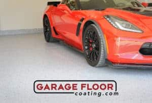 mica blends Epoxy Flooring Coating Red Corvette in Garage