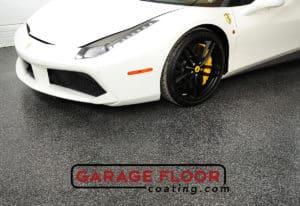Assessing concrete moisture Epoxy Flooring Coating White Ferrari in Garage