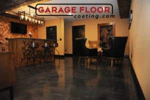 metallic epoxy coatings interior basement bar room