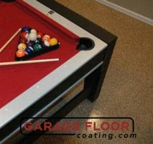 full-chip epoxy floor coating basement pool table GarageFloorCoating.com