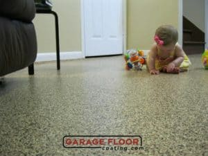 full-chip epoxy floor coating basement child-friendly GarageFloorCoating.com
