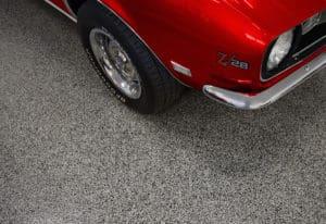Epoxy Flooring Chip System Garage Floor Coating Red Camaro