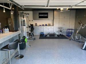 looking for that singular gift home gym epoxy polyaspartic flooring mica chip system
