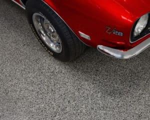 anti skid epoxy slip resistant garage floor red car GarageFloorCoating.com