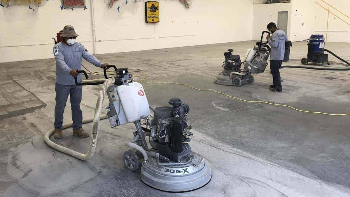 Epoxy flooring concrete preparation of commercial space with high-end Lavina diamond grinders